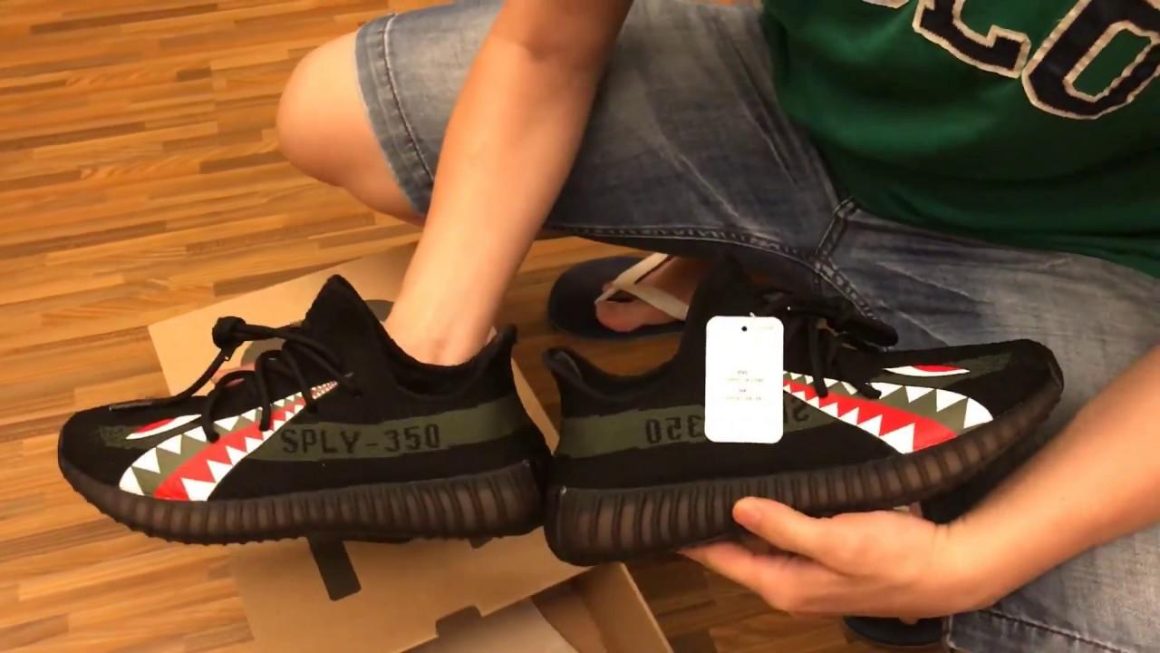 b428c5972 NEW 2017 UA Adidas Yeezy 350 V2 Boost SPLV Bape Shark - YouTube