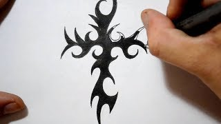 Tribal Cross Tattoos - Drawing a Cool Spikey Design