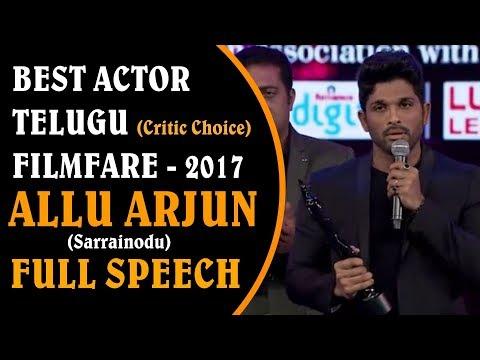 Allu Arjun Receives Best Actor ( Critic Choice )   Filmfare Awards Telugu 2017