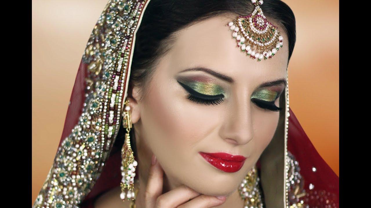 Traditional Indian Bridal Makeup Tutorial  Red Gold Green  Asian Pakistani Arabic Bengali