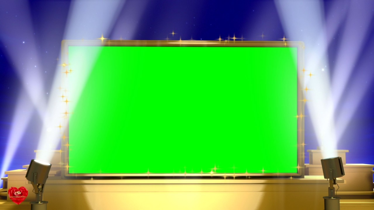 Футаж Рамка с золотыми прожекторами хромакей