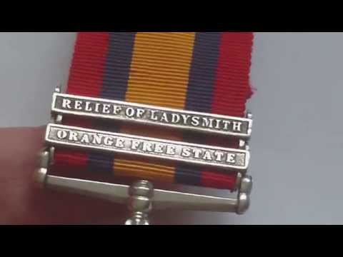 QUEENS SOUTH AFRICA MEDAL 1899-1902. T SWALES,1 BORDER REGT FROM CARLISLE, KIA KIMBERLEY 14/5/1900