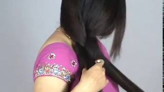 Beautiful Indian Long Hair Woman with Thick Braid & Bun Making
