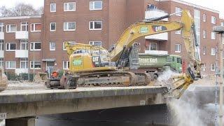 Soeren66 - CAT 336E, 336D, 323D, 308E beim Abbruch einer Brücke, Teil 2
