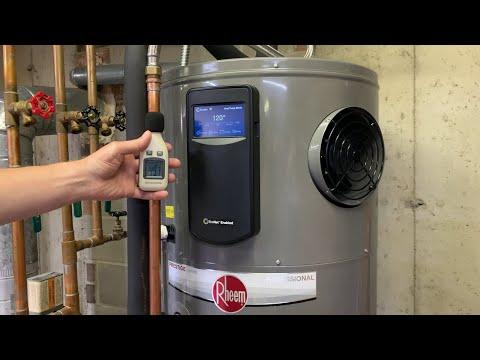 Close Look At Water Leak Detection Noise Levels Of Rheem Prestige Professional Hybrid Water Heater Youtube