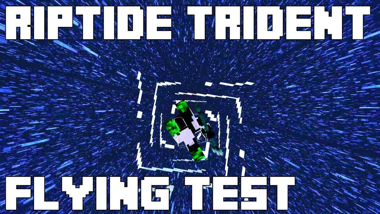 Minecraft Riptide Trident Flying Test - Minecraft 11.111 Update Aquatic