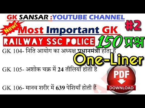 Lucent 150+ one-liner GZ / Railway / Group D / SSC CGL