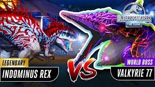 【Jurassic World the Game 侏羅紀世界遊戲】MAX LEVEL HYBRID INDOMINUS REX Vs World Boss Valkyrie 77