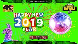 FORTNITE [4K@60fps] NEW YEARS LIVE EVENT (multiple angles) | Triple monitor gaming 5760x1080