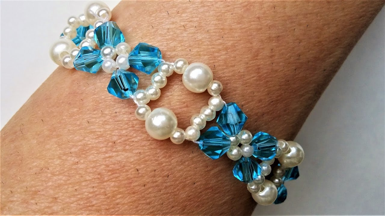 Crystal Bicone Beads Jewelry Tutorial. Pearls and Bicone Beads ...