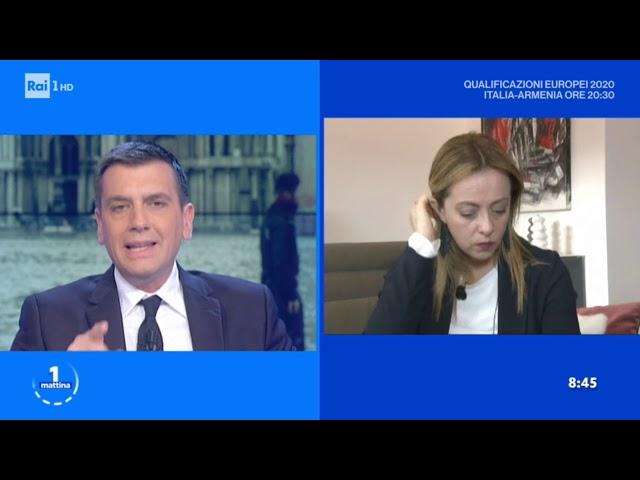 """Giorgia Meloni: Buongiorno a tutti! In diretta da """"Uno Mattina"""" su Rai 1. Mi seguite?"""