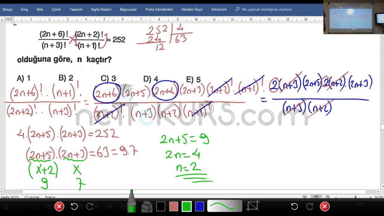 YKS - TYT AYT Matematik - Permütasyon Soru Çözümü / nettekurs.com Online TYT - AYT Kursu