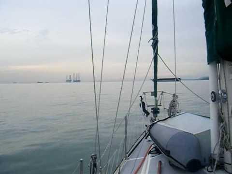 Sailing to Singapore  entering the Strait