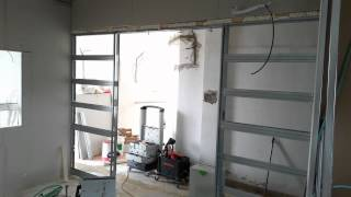 Монтаж системы раздвижных дверей.  Тель Авив part-1
