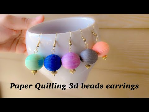 diy|Paper Quilling 3D Beads||How To Make Quilling Earrings||Round Paper Bead Earrings