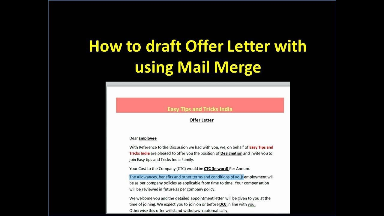Create offer letter with using mail merge youtube create offer letter with using mail merge stopboris Choice Image