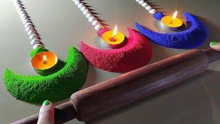 Happy Diwali rangoli design using Belan/Rolling pin   Diya rangoli for diwali   Diwali easy rangoli