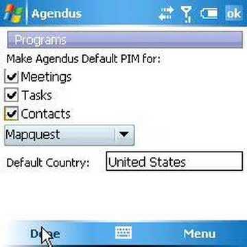Agendus Windows Mobile - V2 How To Set Default PIM