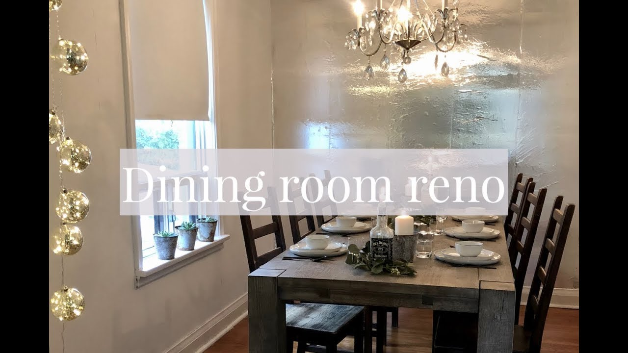 Dining room renovation using aluminium foil as wallpaper // featured in  Right this minute