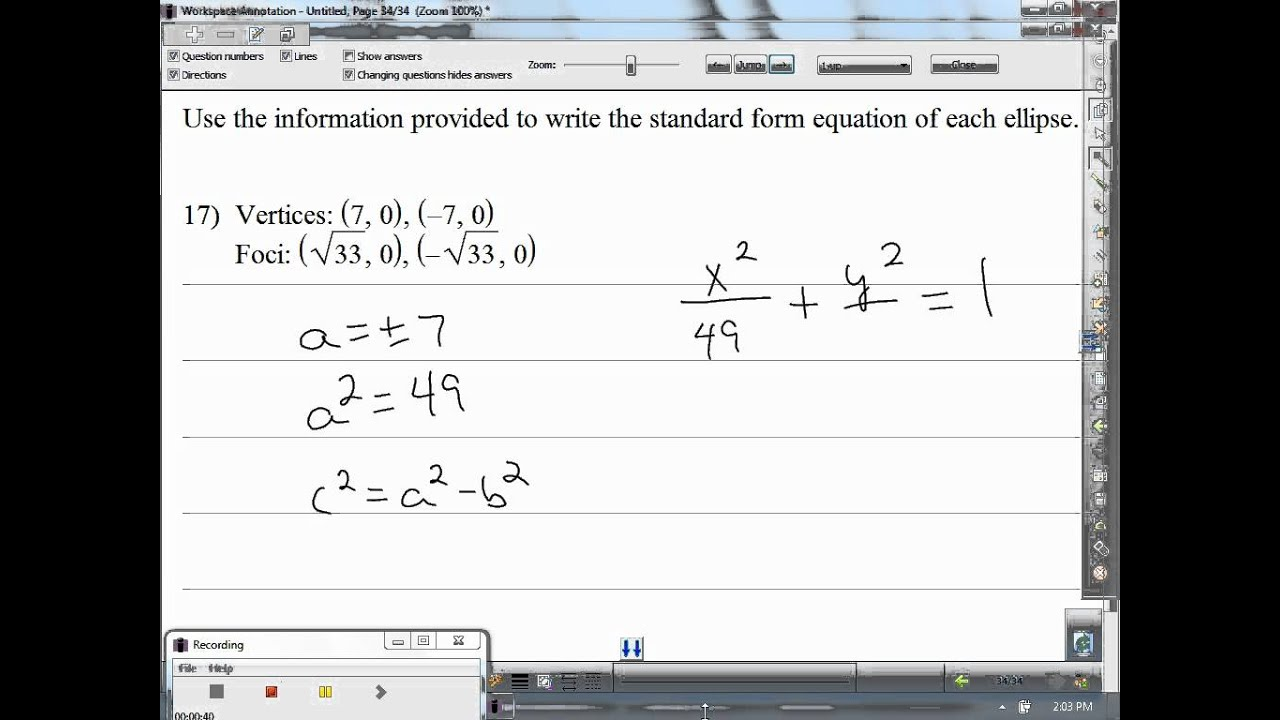 Use the information provided to write the standard form equation use the information provided to write the standard form equation of each ellipse d falaconquin