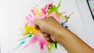 Splatter Punch : Wet in wet Watercolor Technique