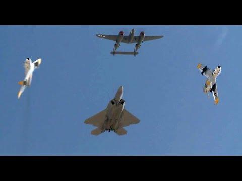 F-22 Raptor Demo Flight along with P-51, F-86, P-38, F-16