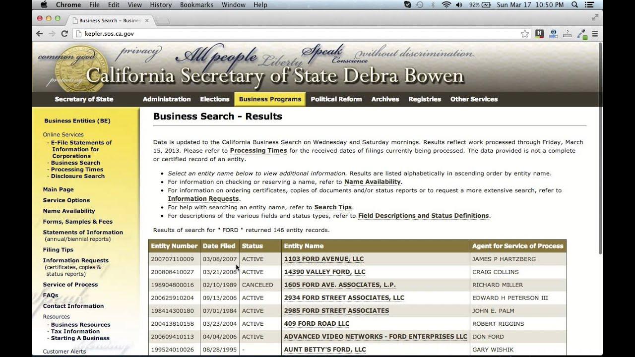 California Secretary of State Filing Services | Rush ...