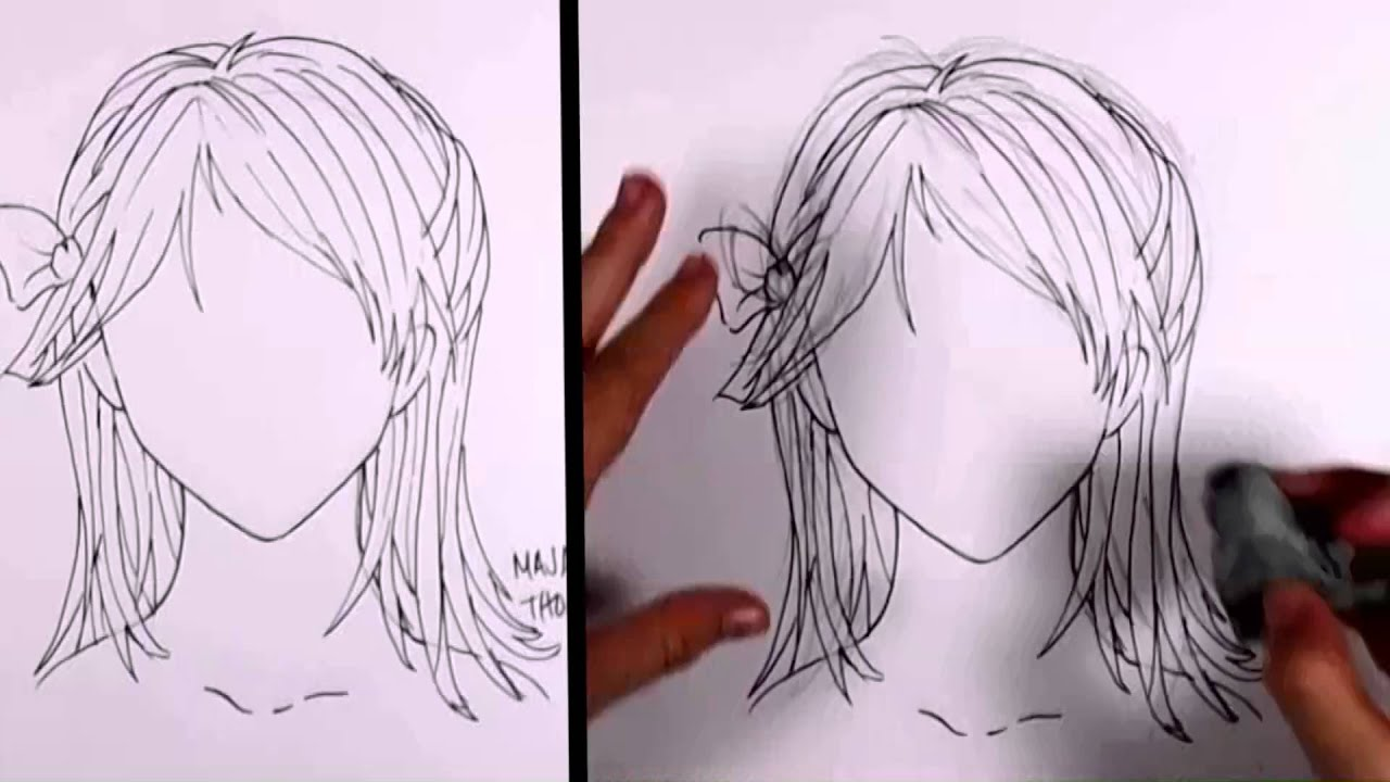 Uncategorized How To Draw A Pony Tail how to draw manga girl hair shoulder length ponytail youtube