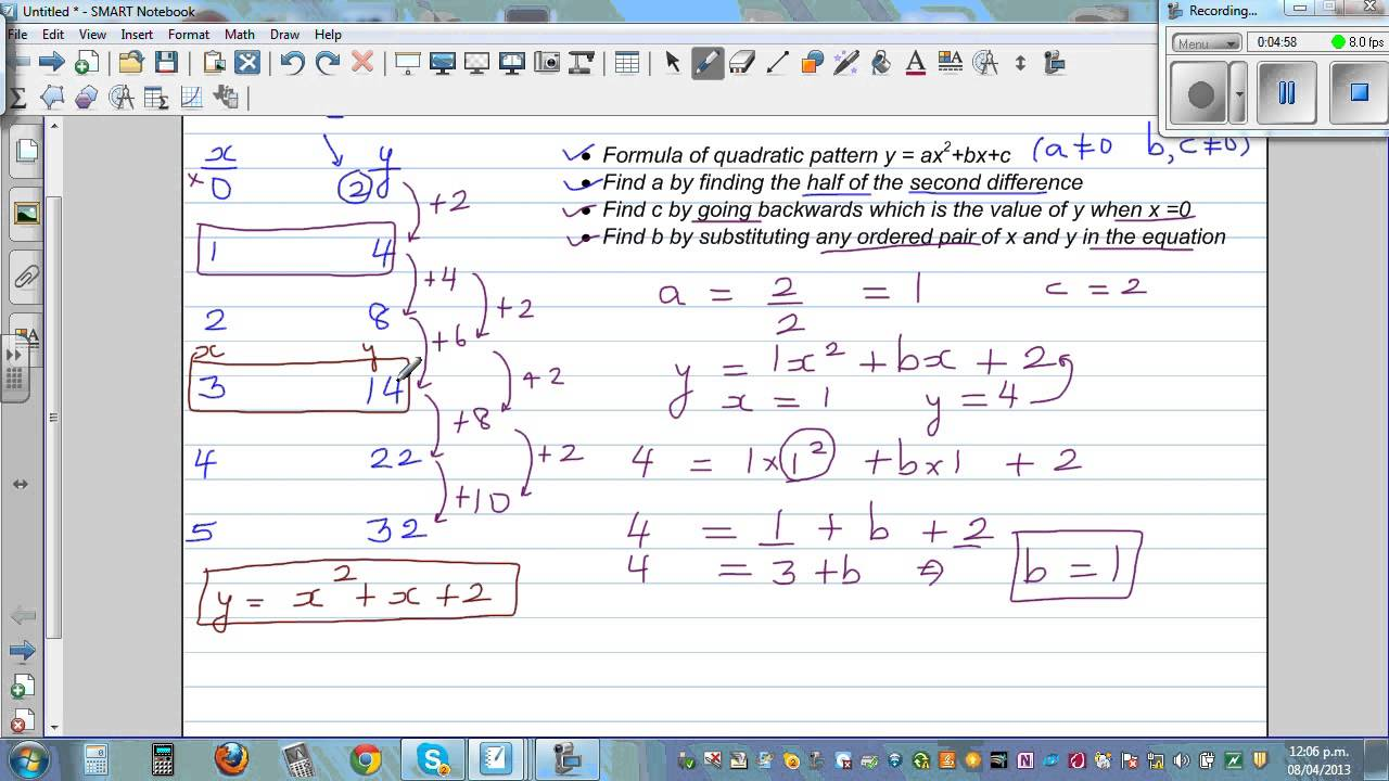 Writing Equation Of A Quadratic Number Pattern By Finding A B And C Of Y =  Ax^2+bx+c