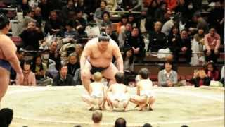 Yuta with two of his friends at a sumo tournament.