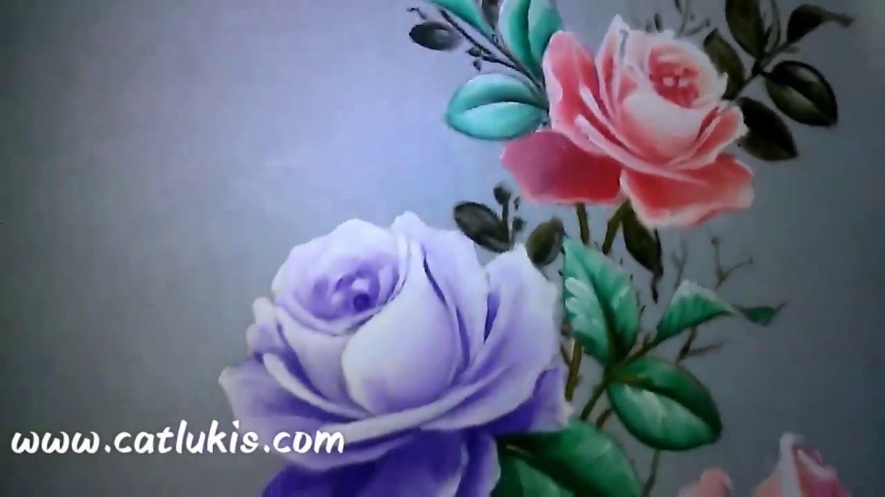 Video Cara Menggambar Daun Bunga Mawar Pada Rangkaian Desain Bunga Mawar Dikain Baju Berwarna Putih Youtube