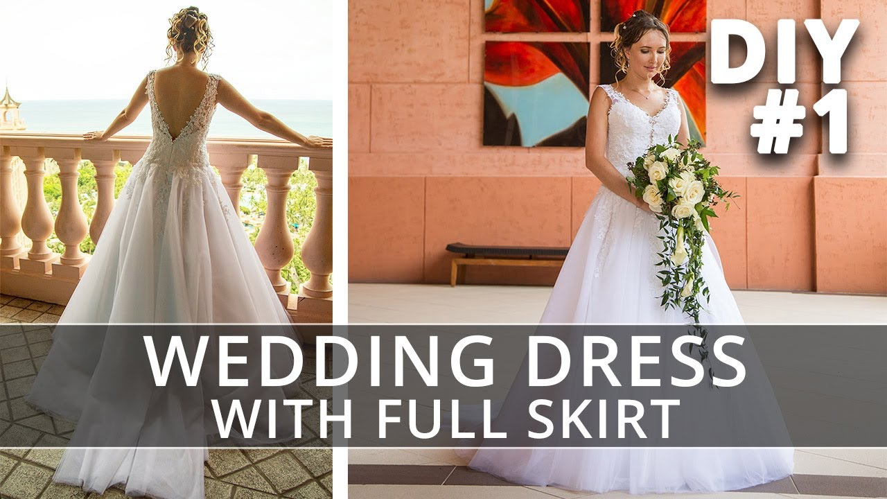 How to make a Wedding Dress with straps and full skirt ...