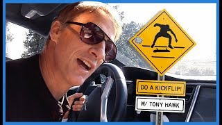 "Watch Legend Tony Hawk Yelling ""Do A Kickflip!"" At Skateboarders From His Car"