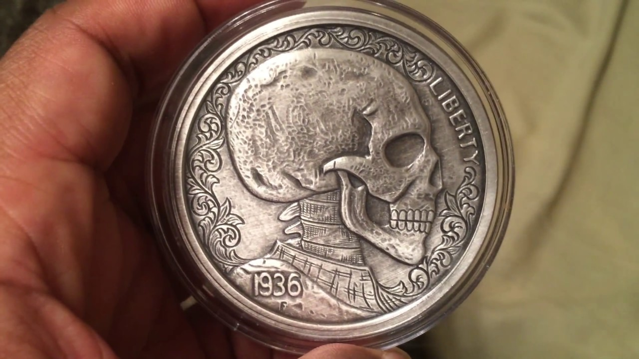 5 Oz Silver Antique Round Hobo Nickel Replica Skulls
