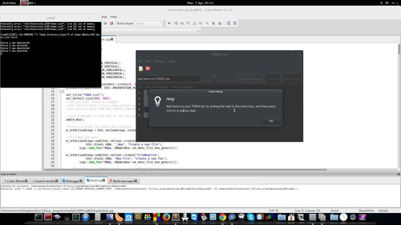 gtkmm c todo list application example with source code youtube