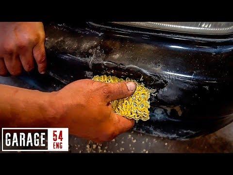 Bumper repair using Asian noodles – for real