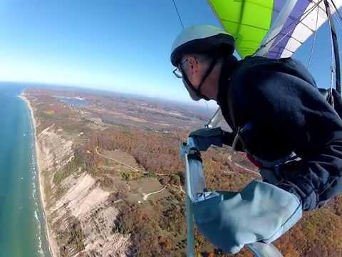 Hang gliding at Green Point, Michigan