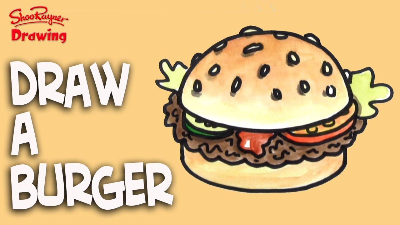 how to draw a burger easy step by step for kids youtube