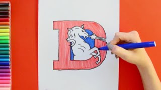 How to draw and color the Denver Broncos Logo (Old Logo) - NFL Team Series
