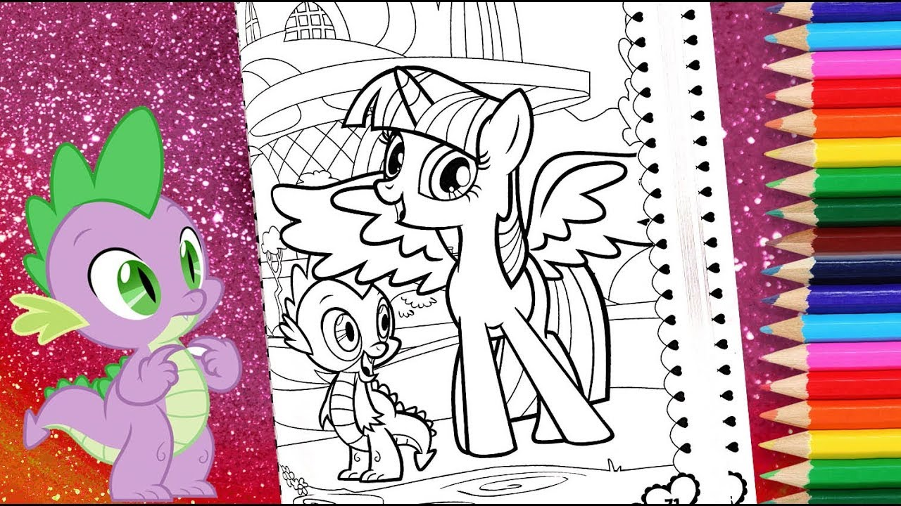 Twilight Sparkle And Spike Coloring For Kids Mlp Coloring Pages My