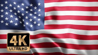 4K Ultra HD Loop Animation Of Photo Realistic Fabric Waving Flag Of USA American National Flag