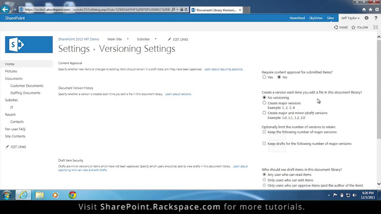 Setting up Versioning in a List or Library in SharePoint 20 Tutorial
