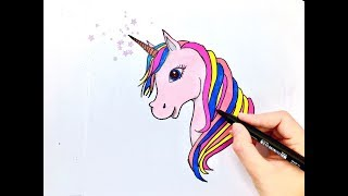 EASY WAY TO DRAW + COLOR A UNICORN |Step by Step|