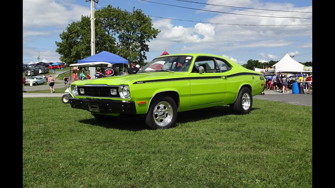 1975 plymouth duster custom in sublime green 408 engine sound on my car story with lou costabile