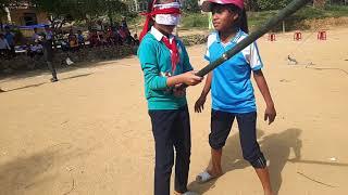 trò chơi đập nêu hội trại 26-3 PTDT BT THCS Trà Nham