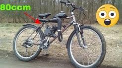 Fahrrad mit 80ccm Motor in aktion
