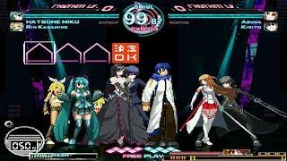 Vocaloid vs Dengeki Bunko Fighting Climax (AK1 BLUE VS RED) 4v4 MUGEN Battle #9 Series!!!