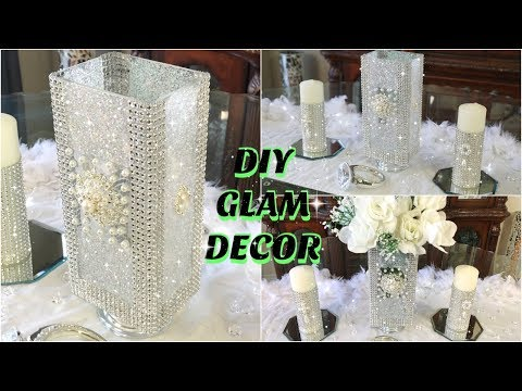 DOLLAR STORE DIY GLAM WHITE FLOWERS SPRING WEDDING CENTERPIECE | DIY WEDDING DECOR IDEAS 2019