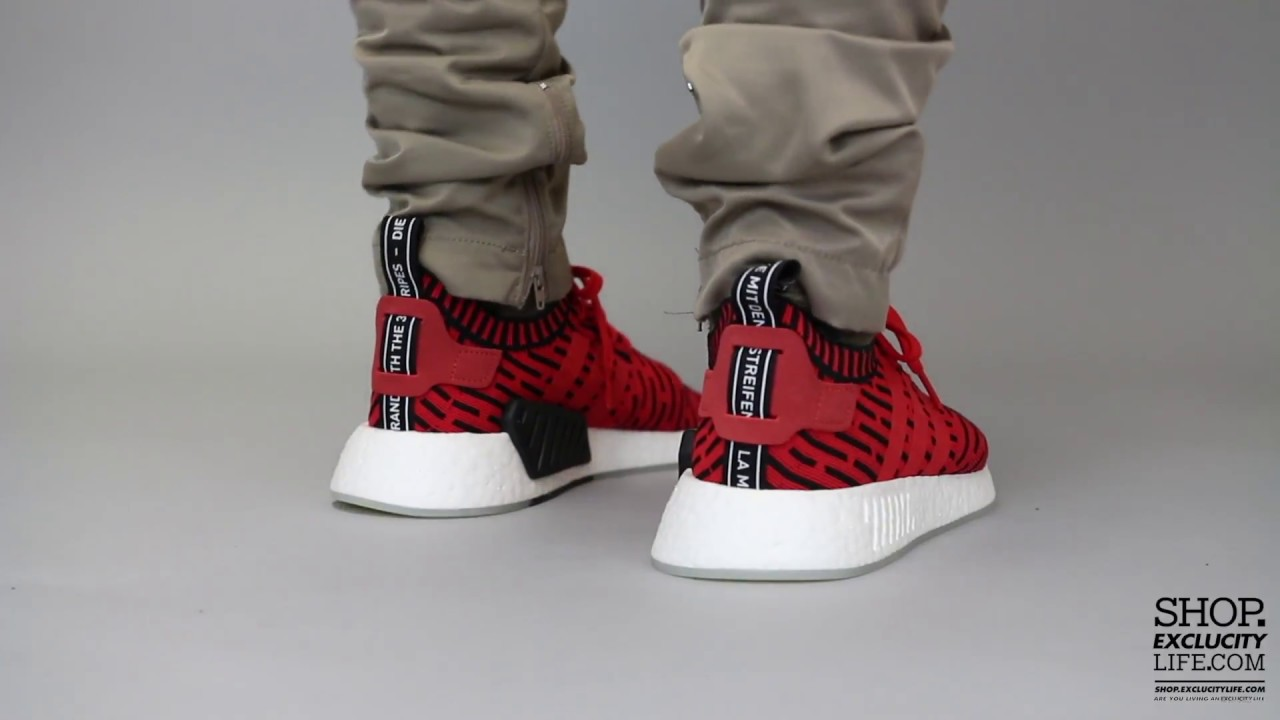 7b992fbc0e2a9 Adidas NMD R2 PK Red Black On feet Video at Exclucity - YouTube