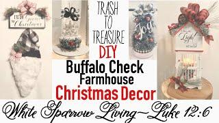 DIY BUFFALO CHECK FARMHOUSE CHRISTMAS TRASH TO TREASURE   GOODWILL   DOLLAR TREE   WALMART